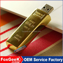 Wholesale Metal Gold Bar Shaped USB Flash Drive, Custom Promotional Gift USB Flash Key 2GB,4,8,16,32,64,128G,256G,512GB G 1TB