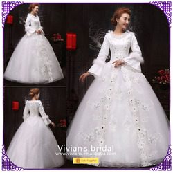 Fashion muslim bridal gowns long lace sleeves luxury organza ball gown wedding dress BS011