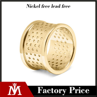 Stainless steel gold plated perforated ring circular cut out pattern ring