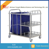 Moving Stainless Steel hospital rubbish cart Trolley