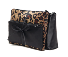 Fashionable leopard three-piece cosmetic bag