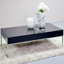 black wooden top end table with metal base