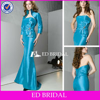High Neck Mermaid Light Blue Mother Of The Bride Dresses With Long Sleeves Jacket