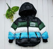 2012 infant shiny down jacket with hood long sleeve zip up