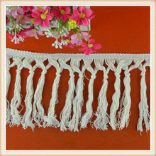 SS16 Ecru cotton fringe for decoration/dress/curtain/ ladies/long top/ skirt high quality ,Knotted fringes