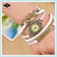 PS0085 Alloy Achieve Charms Girls DIY braided leather strap watch