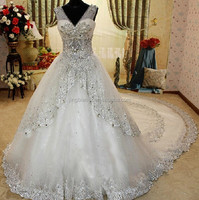 2015 new real sample crystal dubai fashion style ball gown long train wedding dresses #OW346