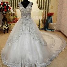 2015 nouvel échantillon réel cristal dubaï fashion style robe de bal long train robes de mariée # OW346