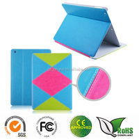 Different color combination design stand flip leather case for ipad air / ipad 5