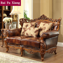 American classic antique genuine leather rubber solid wood frame sofa for living room N-221