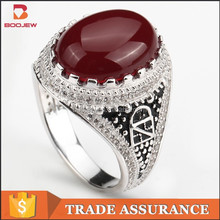 Red agate 925 italian silver men ring value 925 silver ring for sale