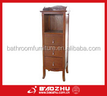 bathroom tall cabinet(BZ63S) cherry wood and MDF waterproof bathroom cabinet