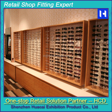 2015 New product for sunglass display kiosk with wooden acrylic