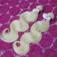 Cheap 100% virgin brazilian body wave great lengths hair extensions weave blonde