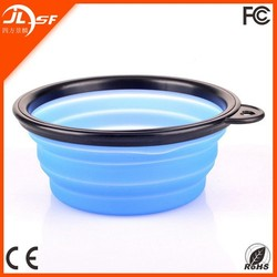 colorful folding plastic pet bowl for dog/cat with black edge
