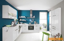 L shape lacquer finish kitchen wood cabinet plus tall cabinet in high gloss