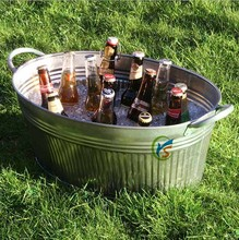 Galvanised Steel Ribbed Oval Party Tub ice bucket beer cooler