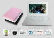 Chino 10'' mini ordenador portátil netbook como un mejor equipo de navidad de regalo