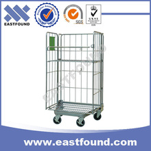 Alibaba china foldable logistic warehouse steel wire rolling cage cart