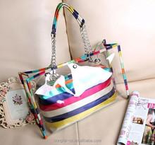 manufacturer promotional gift fashion transparent ladies pvc branch handbag for women