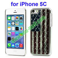 Star-Spangled Banner design Electroplating Diamond Case for iPhone 5C with Mirror Function