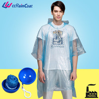 blue one time use raincoat disposable in ball