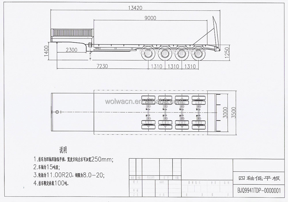 3 ejes cama baja semirremolque para el transporte de la for Cama 3 4 medidas