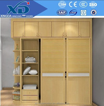 modern design bedroom closet solid sliding door wood wardrobe from China