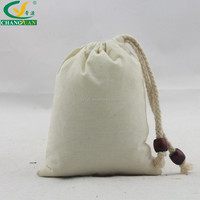 blank drawstring cotton linen bag with bead