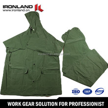Green color durable light-weight hooded waterproof raincoat