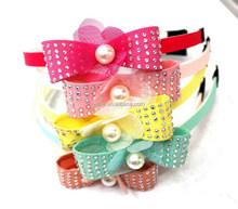 Newest fashion designs headband, colorful set bow headband, small net flower with pearls headband
