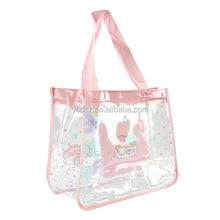 Ladies handle plastic pvc luxury shopping bag