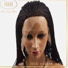 Best selling grade 8a long virgin brazilian hair micro braids lace front wig for black women