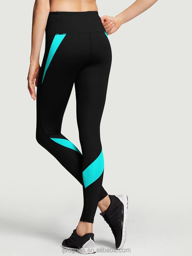 2015 women sport leggings patchwork high waist stretched leggings black gray gym fitness running