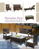 "outdoor furniture PE rattan sofa ""Paris"" teak armrest"