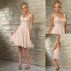 Custom made Cap Sleeve Lace V-neck A-line Knee Length Wedding Guest Dresses Pink Chiffon Short Bridesmaid Dresses 2015