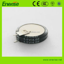 5.5V 4.0F Coin Super Capacitor/electrolytic capacitor for MP3,VTR,GPS,PLC, UPS,electric cooker