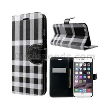 Colored Checks Leather Wallet Case for iPhone 6 Plus Flip Case with Card Slot