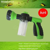 GreenYard 5111 Garden&home ,high pressure FRONT TRIGGER 8-PATTERN PLASTIC ADJUSTABLE TURRET FOAM SPRAY NOZZLE WITH COUNTING CUP