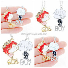 2015 New High Quality Fashion Alloy Red Girl and White Boy Rhinestone Pendants Chain Necklaces