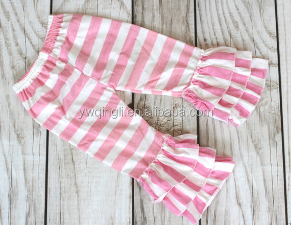 Sale  PINK STRIPE Ruffle pants capris - Boutique ruffle leggings Baby Toddler Little Girl Ruffle Bottoms.jpg