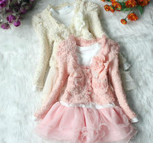 Autumn Winter New Long Sleeve Lace Baby Girl Coat+Dress 2pcs Sets Pink Beige Children Clothing Suits