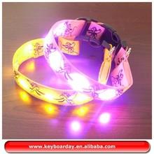 Waterproof LED luminous pink dog collar look very smart
