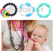 fashion pearl beaded necklace Silicone Teething necklace