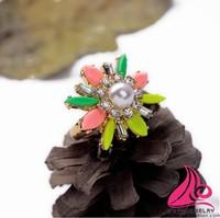 New Sun Flower Attractive Luxury Trendy Brand Pearl Ring Design