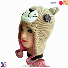 Walmart certification animal custom hats,lovely kids hat,knitted children embroidered hat