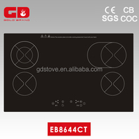 Top rated 4 burner black color small induction cooker/ 86cm touch control cooktop home appliance