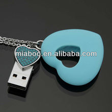 Crystal heart pendant usb stick/pen drive/key, soft PVC usb heart for valentine's day's gift, 4GB, 8gb, 16GB, 32GB 64GB