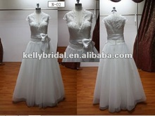 Size Available Cheap Caps Sleeves Bridal Gown Chapel Floor Length Lace Tulle Top Real Wedding Dresses