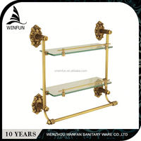 High Quality factory directly wall mounted two layers decorative glass shelf